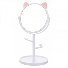 Adjustable Makeup Mirror Multifunctional Cat Ear Dressing Table Princess Mirror Dormitory Desktop Small Round Mirror Decoration