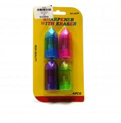 4 Pcs Pack High Quality Sharpener With Eraser