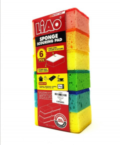 6 Pcs LIAO SPONGE WITH SCOURING PAD