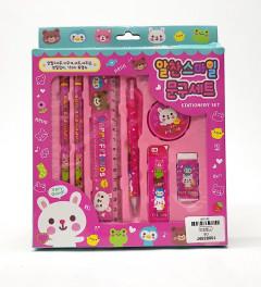 7PCS Set Cute Cartoon Pencil Ruler Eraser Sharpener Set Plastic Stationery Kit for School Supplies