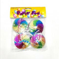 4 Pcs Pack Party Rainbow Printed Aluminium Spirals
