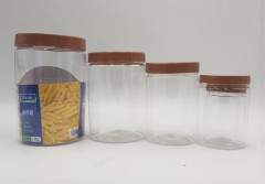 SAIOOL Set of 4 Kitchen Canisters,Thick, Stackable, Natural Style,Cookie, Rice and Spice Jars - Sugar or Flour Container - Big and Small Airtight Food Jar for Pantry