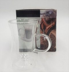 Double Wall Glass Cups For Tea, Coffee Cups With Saucer , 90ML