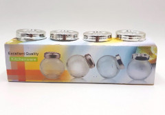 Set Of 3 Glass Jars Screw Lid Household