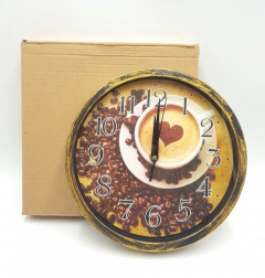 Wall Clock Round Glass Top Quartz Movement Battery Operated Easy Read Numbers