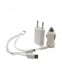 Mini 7 in 1 USB Wall & Car Charger + USB Cable Kit with Lightning connector Compatible