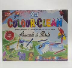 2 in 1 Colour & Clean-Transport and Shape , Animals & Birds