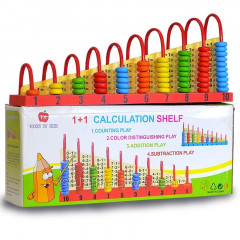 Wooden Double-Sided Abacus 1+1 Calculation Shelf with Counting Addition Subtraction Maths Toy