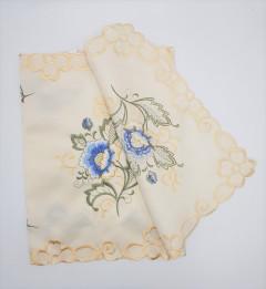 Vintage Handkerchief White w/Orange Floral Design & Drawnwork Hand Embroidered