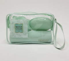 TRAVEL KIT WITH 1 POUCH 1 SPONGE 1 BRUSH HOLDER 1 SOAP DISH AND 1 COMB Shower set