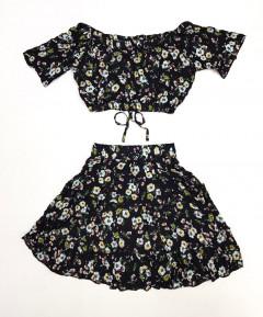 Ladies 2 Pcs Crop Top & Skirt Set