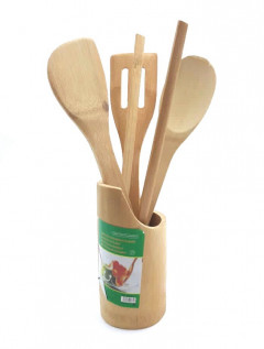 5PCs Set Bamboo Cooking Utensils Wooden Spoons Spatula