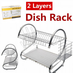 2 Layer Stainless Dish Drainer Rack Atck Dish Drying Rack, 2 Tier Dish Rack with Utensil Holder, Cup Holder and Dish Drainer for Kitchen Counter Top, Plated Chrome Dish Dryer Silver