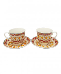 2 Pcs Ceramic Coffee Cup Set With Saucer