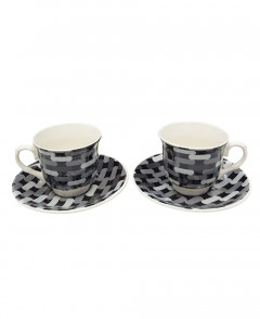 2 Pcs Ceramic Coffee Cup With Saucer